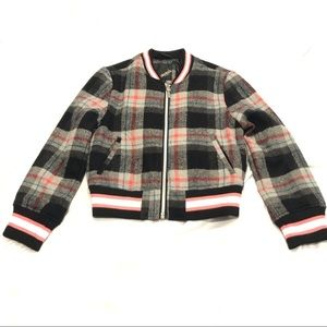 Flannel Fleece Plaid Bomber Jacket Wool Blend Sz 6